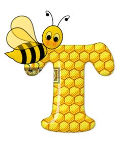 Alphabet letters bee on honeycomb. Alphabet Art, Alphabet And Numbers, Scrapbook Letters, Bee Pictures, Frida Art, Cartoon Clip, Bullen, Spelling Bee, Bee Party