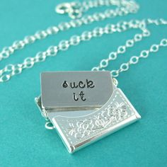 Rude Locket - Snark Letter Necklace - Custom stamped silver or gold envelope necklace