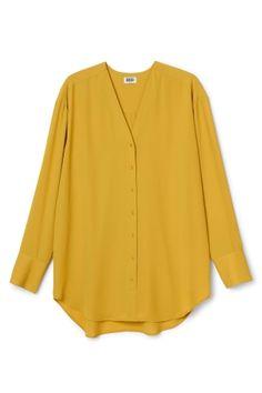 Rise chiffon blouse - Yellow - Sale - Weekday