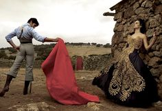 """Cayetano Rivera Ordóñez & Penelope Cruz in Marchesa - """"Made in Spain"""" photographed by Annie Leibovitz for US Vogue"""