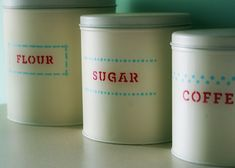 Stenciled Kitchen Canisters --ADORABLE!