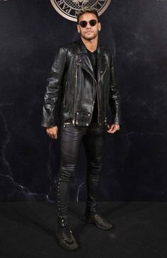 New Fashion Leader Favorite Style of The Month October 2017 :  PSG - Paris Saint-Germain Super Star Neymar Jr. was so Fierce in a python biker jacket and black leather skinnies at Balmain x L'Oréal Paris collection 2017 After Party.  BLACK is Back The New TERMINATOR of Fashion :)  #NeymarJr #PFW #BalmainxLorealCollection2017SS2018 #photooftheday #followme #cute #love #like #fashionista #fashionblogger