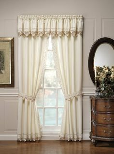 Today's Curtain Regal Reverse Embroidery 84-Inch Panel Pair and Tiebacks, Ecru / Peach by Today's Curtain. $35.52. Engineered scallop edge. Coordinated tiers and panel pairs available. Fine reverse embroidery. 100% Polyester. Intricate cutwork. Textured fabric. Regal Window Curtain Collection by Today's Curtain, features fine reverse embroidery, multi color trims, rich cutwork, textured fabric, engineered scallop bottom, all polyester, easy care, machine washable, Select mult...