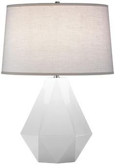 "White Geometric Lamp:  Robert Abbey Delta Lily 22 1/2"" High Table Lamp Style # P2961"