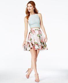 Speechless Juniors' 2-Pc. Lace Floral-Print Dress