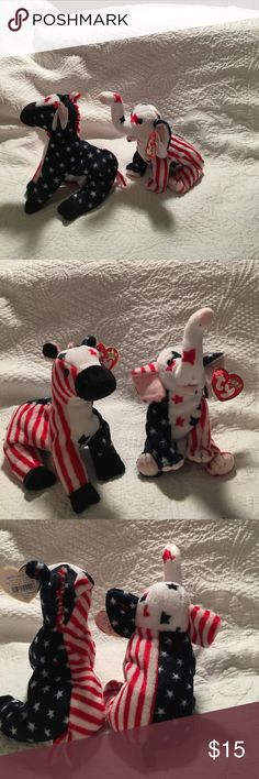 Ty beanie babies, Lefty 2000 and Righty 2000 Very cute patriotic beanies Lefty is democratic donkey, Rightly is republican elephant. Both in excellent condition with tag protectors , from smoke free home, no stains or holes ( will separate if desired) ty beanie babies Accessories