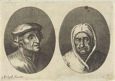 Anonymous   Aecht Sonder-Ziel en Heertje Al-te-mooy, Anonymous, 1612 - 1702   Prent uit een serie van 12 prenten met koppen van boeren en boerinnen.