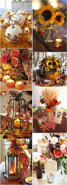 50+ Vibrant and Fun Fall Wedding Centerpieces / http://www.deerpearlflowers.com/50-vibrant-and-fun-fall-wedding-centerpieces/
