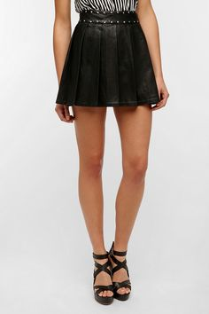 Silence & Noise Studded Faux Leather Circle Skirt