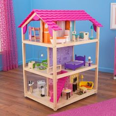 Kidkraft So Chic Dolls House & 50 pieces of furniture Wooden Dollhouse, Dollhouse Dolls, Dollhouse Furniture, Doll Furniture, Dollhouse Design, Dollhouse Kits, Vintage Dollhouse, Multiplication For Kids, Top Toys