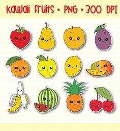 75 % OFF SALE Kawaii Obst, Wassermelone, Zitrone, Erdbeere, digitale Clipart, digitale Aufkleber, Instant Download, persönlichen und kommerziellen Gebrauch