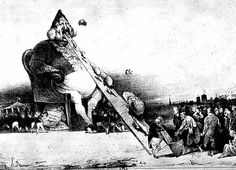 "EDITORIAL CARTOON: Daumier's ""Gargantua"", 183, is perhaps one of the most scathing caricatures of Louis Philippe. The monarch is presented as a leviathen which hungrily consumes sacks of money which are carried up his gaping mouth by ranks of ragged French peasants.Daumier produced thousands of graphic works for journals such as La Caricature and Le Charivari, satirizing government officials and the manners of the bourgeoisie."