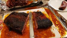 Brisket that marinates overnight has plenty of juice for the next day.  www.ClaudesSauces.com Brisket, Steak, Juice, Food, Eten, Juices, Juicing, Steaks, Meals