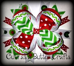 Medium mix and match Boutique holiday Christmas hair bow Chevron