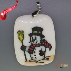 CHRISTMAS ENGRAVED HAND PAINTED SNOWMAN PENDANT NATURAL WHITE STONE ZL7001628 #ZL #PENDANT