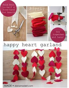 Felt heart garland/Could use paper hearts and use Valentine patterned paper in between solid colors, string a sparkly bead between each heart. Tie toile strips of pink, white and red in a knot between hearts. Sew by hand with embroidery thread. My Funny Valentine, Valentine Day Love, Valentine Day Crafts, Holiday Crafts, Valentine Nails, Kids Valentines, Valentine Ideas, Decoration St Valentin, Felt Crafts