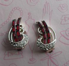 Vintage Kramer Signed Ruby Red Baguette & Clear White Rhinestones Clip On Earrings by ArtsyMysticDesigns on Etsy Ruby Red, Baguette, Red Gold, Clip On Earrings, Vintage Jewelry, Cufflinks, My Etsy Shop, Rhinestones, Jewellery
