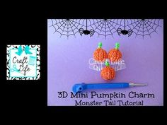 Monster Tail - Mini 3D PUMPKIN Charm. Designed and loomed by Jacy at Craft Life.Click photo for YouTube tutorial. 10/03/14.