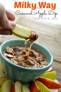Milky Way Caramel Apple Dip--Made with Fun Sized Milky Way Bars! #recipes #halloween