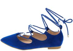 RYLEE BLUE POINTED TOE LACE UP WOMEN'S FLAT ONLY $10.88