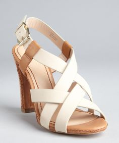 8d43c6b67d25 POUR LA VICTOIRE Ivory And Camel Leather Strappy  Vy  Slingback Sandals  Slingback Sandal