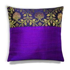 Purple and Gold Pure Silk Pillow Cover  Woven Gold Banaras