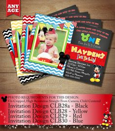 MICKEY MOUSE CLUBHOUSE BIRTHDAY INVITATION PRINTABLE DIGITAL FILE Once I receive all of the info requested from the 'HOW TO ORDER' portion