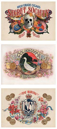 Painted Cigar Labels by Glenn Wolk