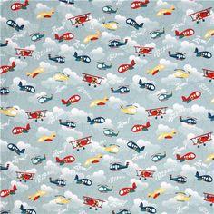 blue-grey airplane fabric Riley Blake Fly Aweigh 3