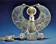 Tut Exhibit - King Tutankhamun Exhibit, Collection: Jewelry - Pectoral Representing Ra-Harakhty representing King Tutankhamun