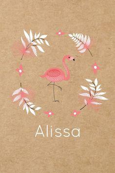 Geboortekaartje kraft karton Flamingo - Alissa voor Names With Meaning, Wall Prints, Baby Names, Journaling, Bullet Journal, Invitations, Girls, Diy, Paper Board