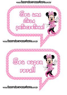Plaquinhas Divertidas da Minnie Rosa: