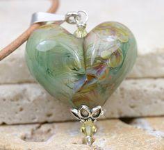 Lampwork Heart  Glass Heart  Heart Necklace  by JewelsByLDesigns