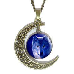 Night Wolf Half Moon Pendant