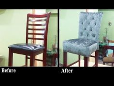 DIY-HOW TO REUPHOLSTER A DINING ROOM CHAIR WITH BUTTONS. - ALOWORLD - YouTube