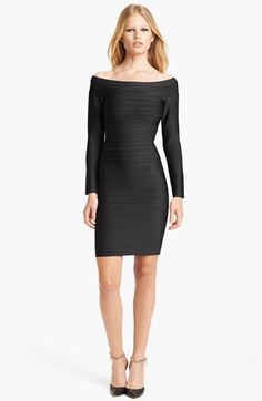I will own one of these... one day Herve Leger Off Shoulder Bandage Dress available at #Nordstrom
