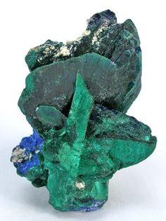 Malachite ps. Azurite with Azurite from Milpillas Mine, near Nacozari, Sonora, Mexico