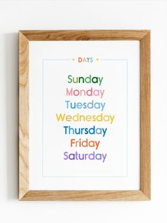 Colourful days of the week (Sunday to Saturday) poster that's perfect for a nursery, playroom or classroom. Can be used as cute decor or as a teaching tool for new learners or kids. A great educational print that can blend nicely into your home as a decor piece. This print comes in multiple sizes (a custom size can also be requested). Sunday To Saturday, Playroom Art, Classroom Posters, Baby Education, Unique Colors, Poster Wall, Printable Wall Art, Nursery Decor, Art For Kids