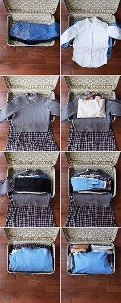 A cool way to pack clothes without wrinkles.