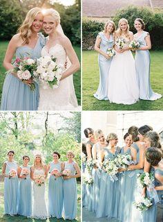 Long Pastel Baby Blue Bridesmaids Dresses   www.onefabday.com