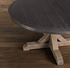 This is it!!! My final choice!!! Railroad Tie Round Dining Table with Aged Zinc Finish!! Loooove it!! Ordered it today!! Yay!!