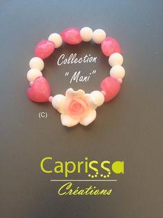 Bracelet Coeur de Fleur Rose   Blanc  fleurs  flowers  bracelet  blanc   white  rose  love  mode  madeinfrance  fashion  pink  ete  bracciale  hand   summer ... e2d049fc2f8