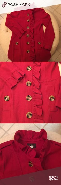 Lightweight wool coat British red coat w/princess seams Luii Jackets & Coats