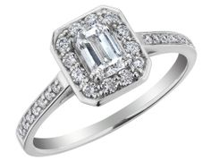Emerald Cut Diamond Engagement Ring 3/4 Carat (ctw) in 14K White Gold (Certified), Size 5