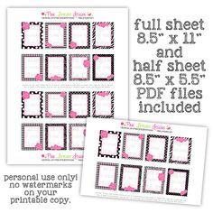 Black and White Patterns with Hot Pink Roses - Full Box