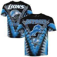 Detroit Lions Tie-Dye Premium T-Shirt - Light Blue/Black