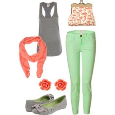 Grey, Coral and Mint = love