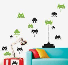 MY INVADERS Clásico videojuego de la generación ochentera. http://www.myvinilo.com/vinilos-pop/vinilo-marcianitos.html Vinilos decorativos, hogar, decoración, interiores, pared, diseño, grafica, wall decals, stickers, decoration, design, graphics, arte, art, videogame, space, invasores, espacio.