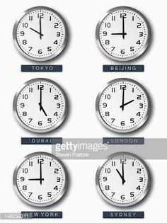 Stock Photo International Time Zone Clocks On Wall