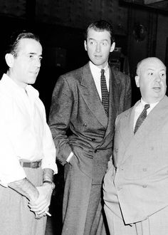 """Humphrey Bogart visiting the set of """"Rope"""" - with James Stewart and Alfred Hitchcock [1948]"""